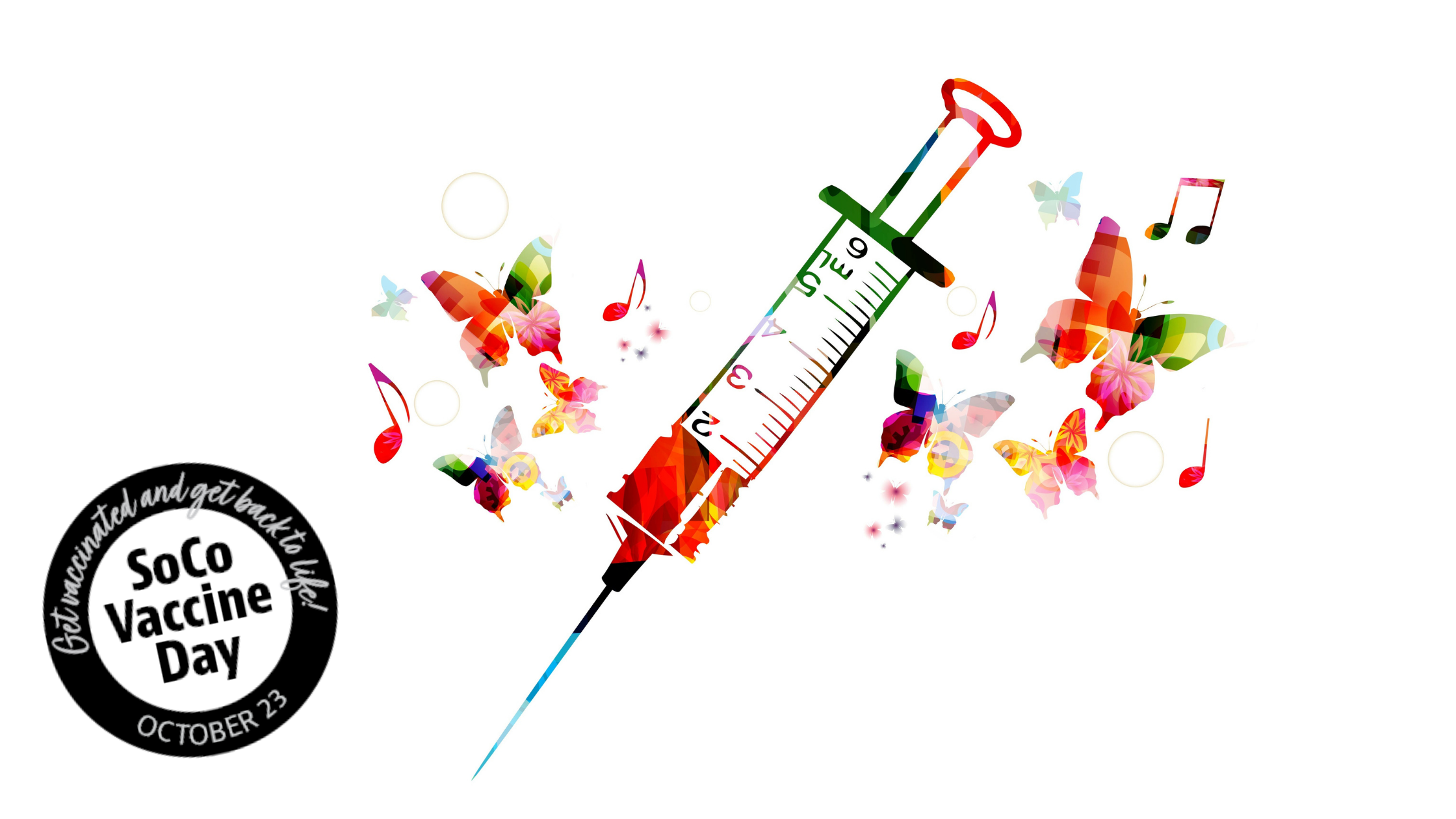 an colorful graphic of a needle surrounded by music notes, color splash and butterflies