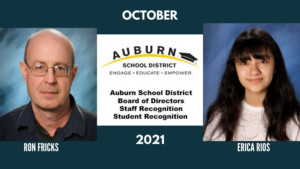 Graphic announcing October 2021's student and staff member of the month
